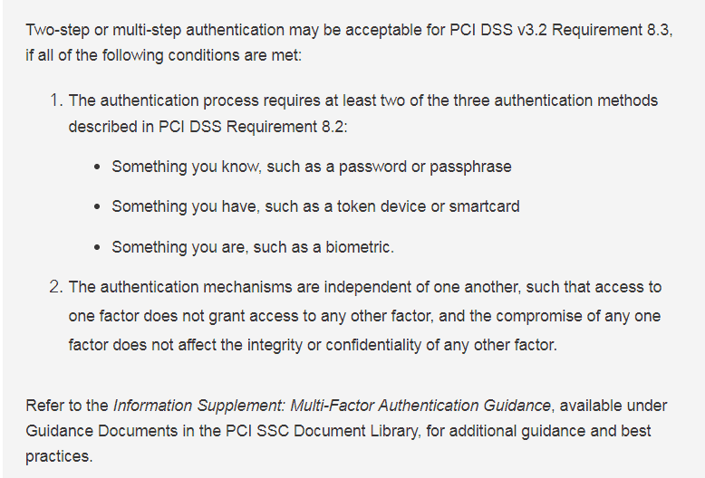 Two Step Authentication | Is it Acceptable for PCI DSS Requirement 8.3